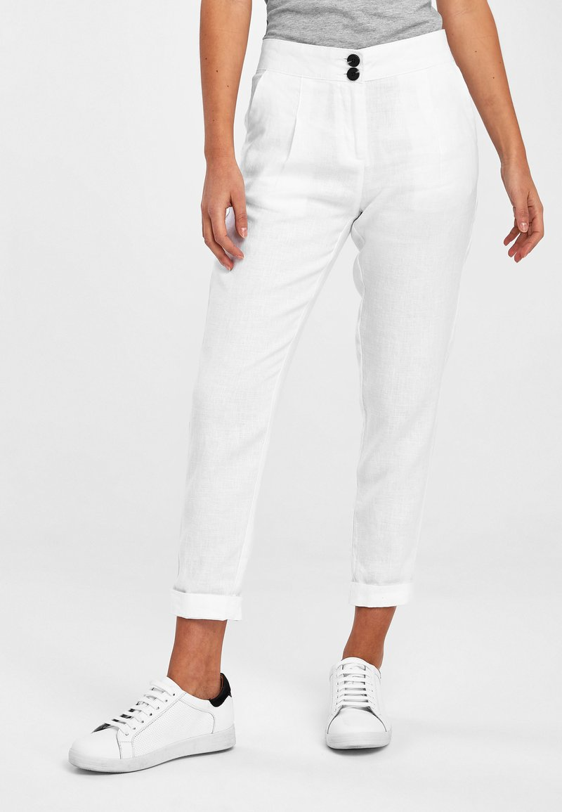 Next - WHITE 100% LINEN TAPER TROUSERS - Trousers - white