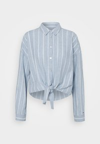 Tommy Jeans - TJW RELAXED FRONT KNOT  - Button-down blouse - moderate blue/stripe - 0