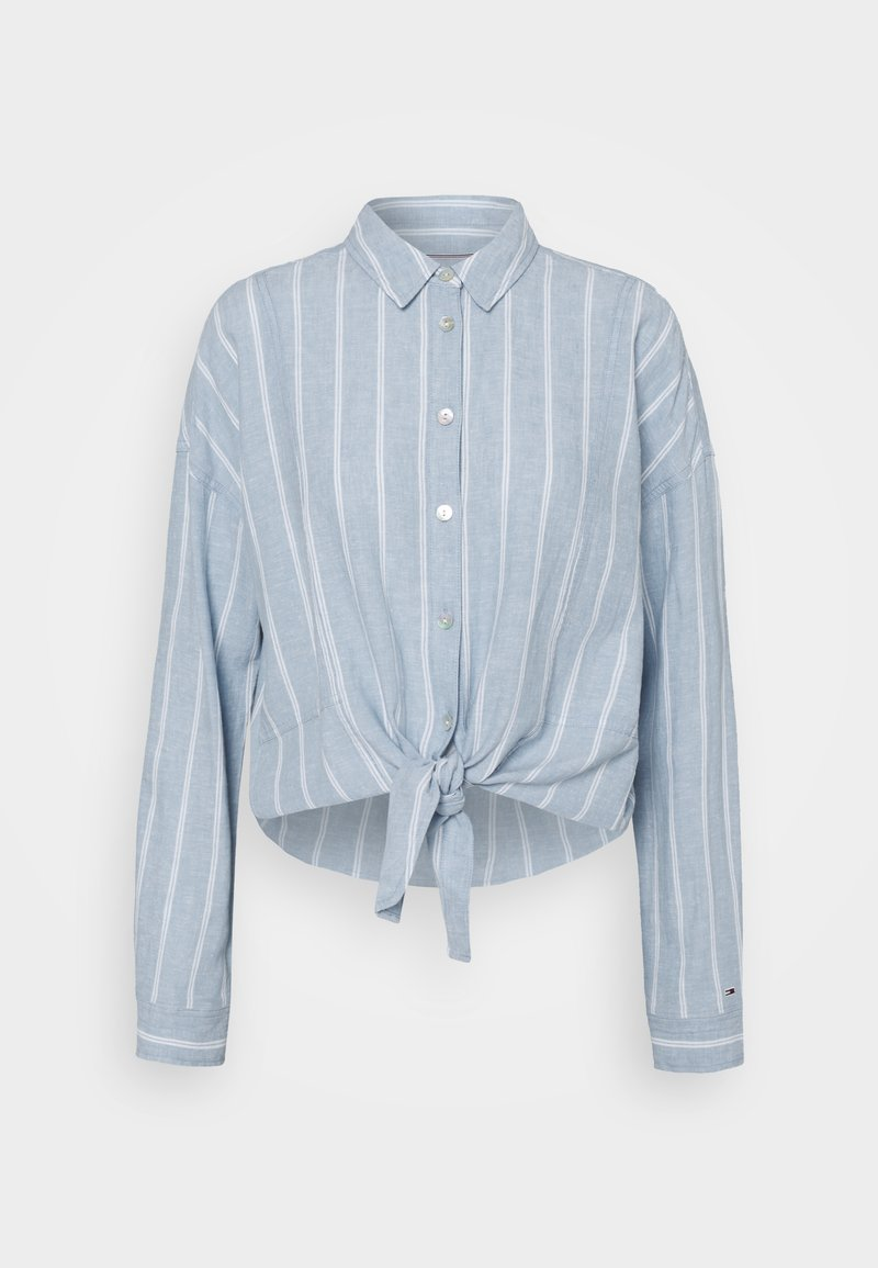 Tommy Jeans - TJW RELAXED FRONT KNOT  - Button-down blouse - moderate blue/stripe