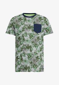 WE Fashion - MET STREEP- EN BLADERENDESSIN - T-shirt con stampa - green - 3