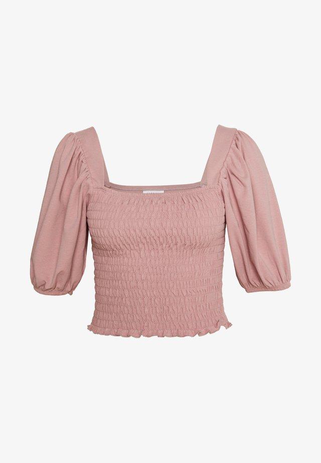 SHIRRED SHORT SLEEVE - Print T-shirt - pink