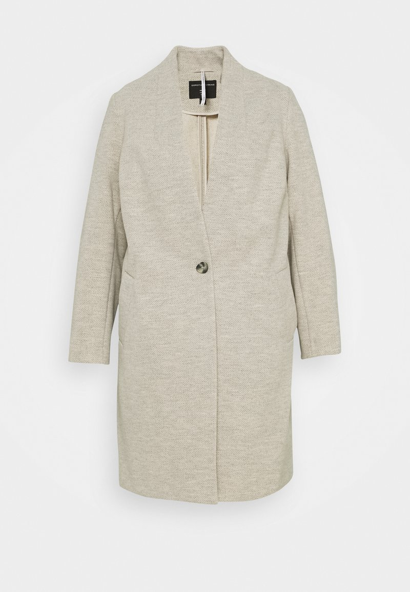 Dorothy Perkins Curve - COLLARLESS UNLINED HERRINGBONE - Manteau classique - oatmeal