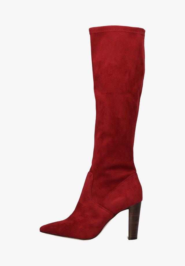 Laarzen met hoge hak - bordeaux stre.