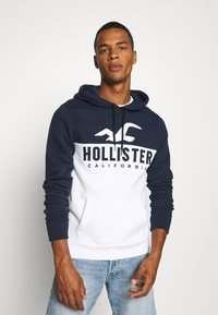 Hollister Co. - TECH LOGO SPLICE - Hoodie - white/navy - 0