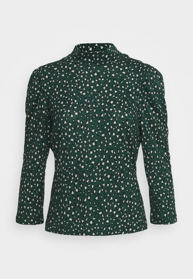 LEOPARD PUFF PRINT HIGH NECK - Blus - green