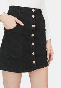 Stradivarius - A-line skirt - blue-black denim - 3