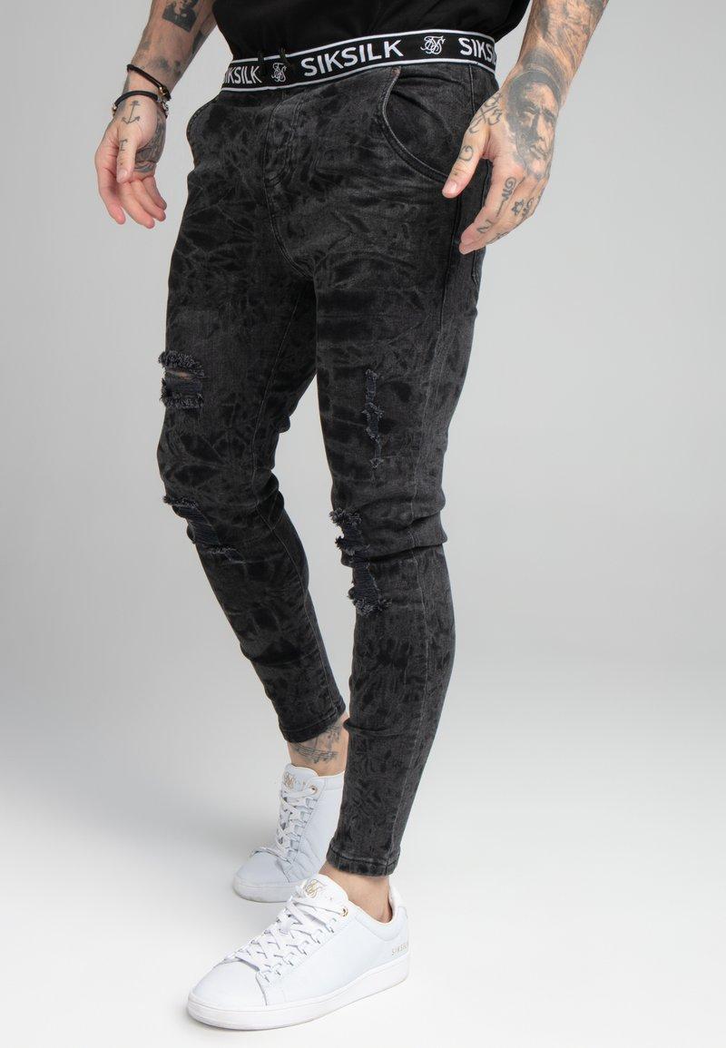 SIKSILK - DISTRESSED ELASTICATED  - Jeans Skinny Fit - black