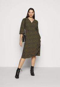 ONLY Carmakoma - CARLUXIVY 3/4 WRAP CALF DRESS - Day dress - black - 1