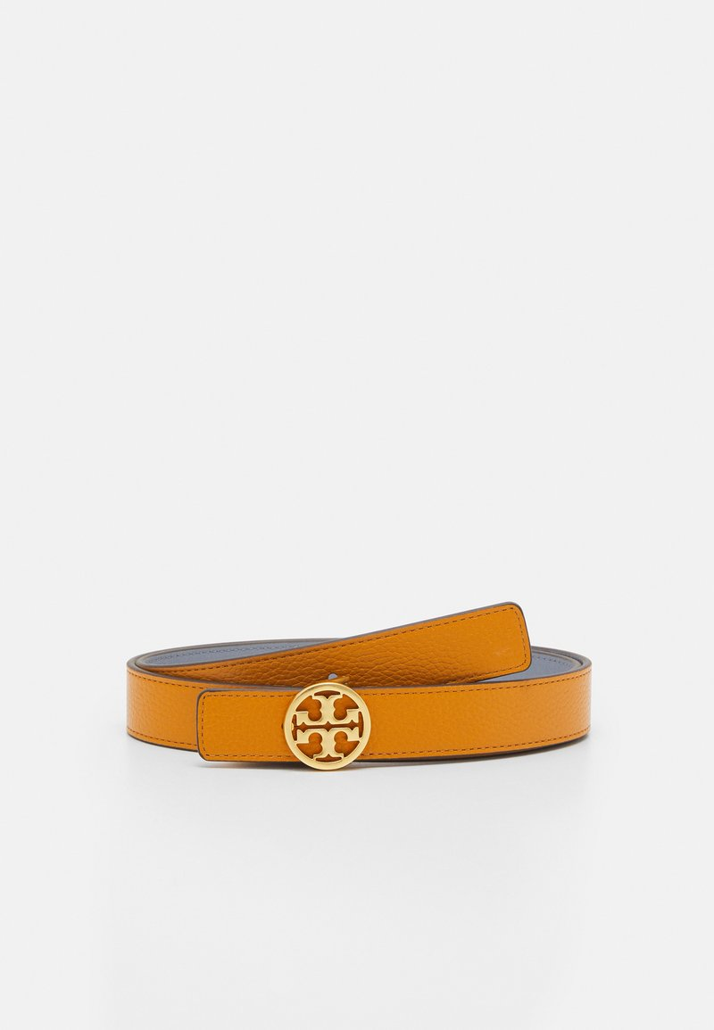 Tory Burch - REVERSIBLE LOGO BELT - Pásek - squash/cloud blue/gold
