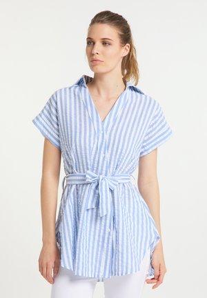 Button-down blouse - weiss hellblau
