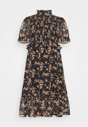 FLORAL HIGH NECK MIDI DRESS - Day dress - black