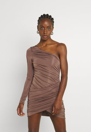 RUCHED SLINKY ASYMETRIC - Shift dress - chocolate