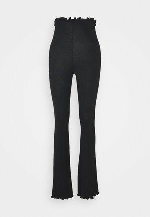 COORD FLARE TROUSER LETTUCE HEM - Pantalon classique - black