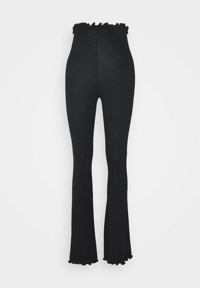 COORD FLARE TROUSER LETTUCE HEM - Trousers - black