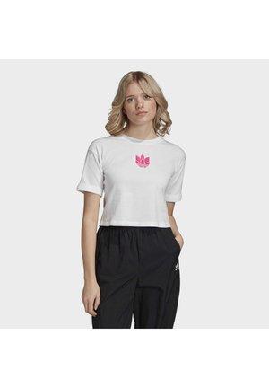 CROP  - T-Shirt print - white/shock pink