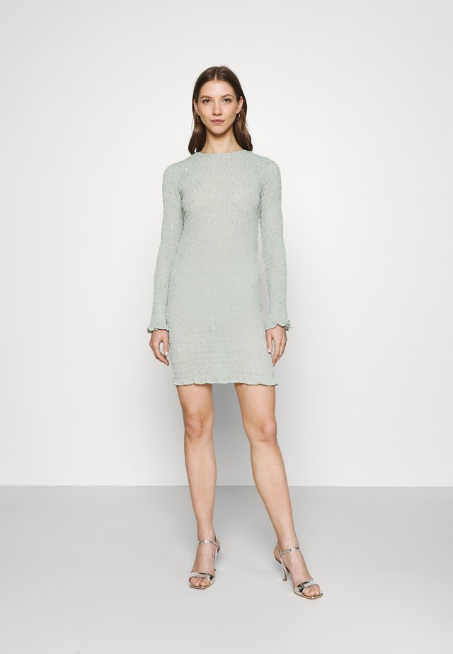 SHIRRED EGGSHELL MINI DRESS - Korte jurk - eggshell