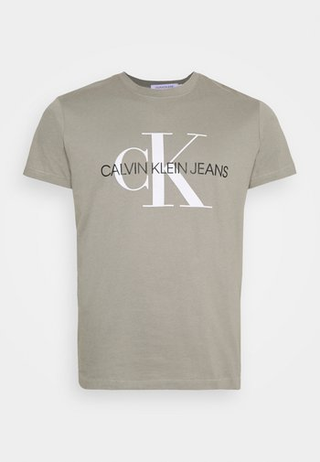 SEASONAL MONOGRAM TEE - Print T-shirt - elephant skin / white