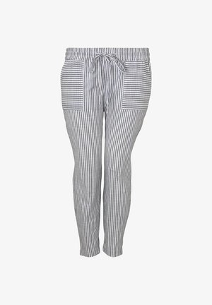 MY TRUE ME TOM TAILOR HOSEN & CHINO CHAMBRAY HOSE - Trousers - navy white stripe