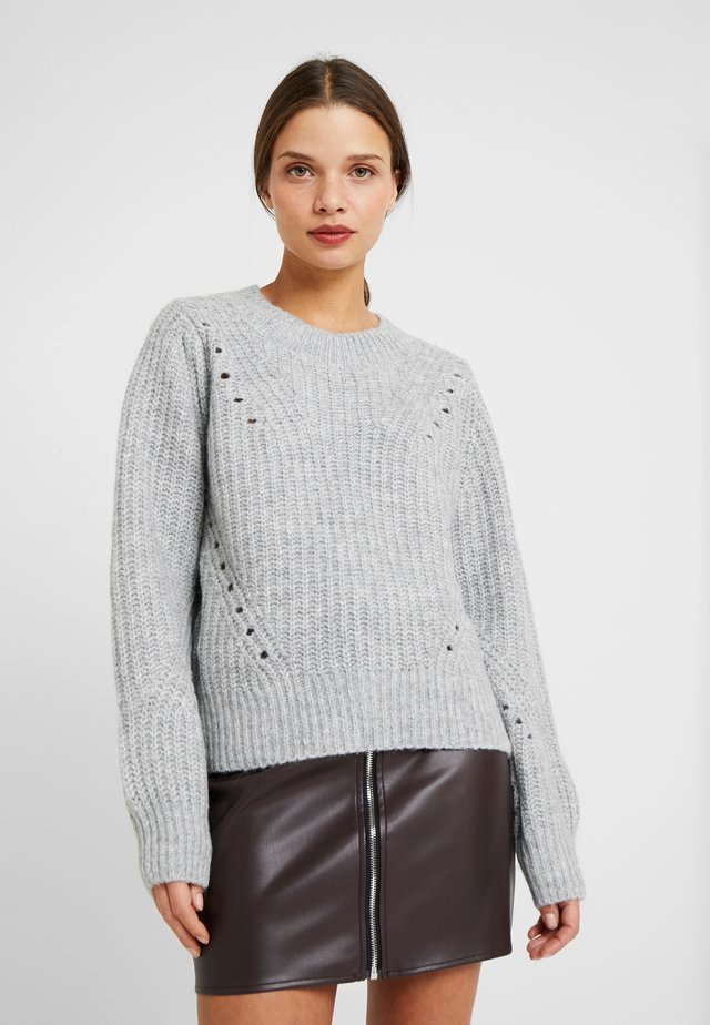BRUSHED POINTELLE CREW  - Pullover - light grey