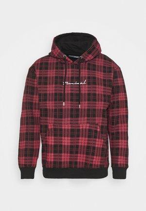 CHECK HOODIE - Sweatshirt - burgundy