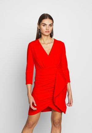 FAUX MINI WRAP DRESS - Koktejlové šaty / šaty na párty - red