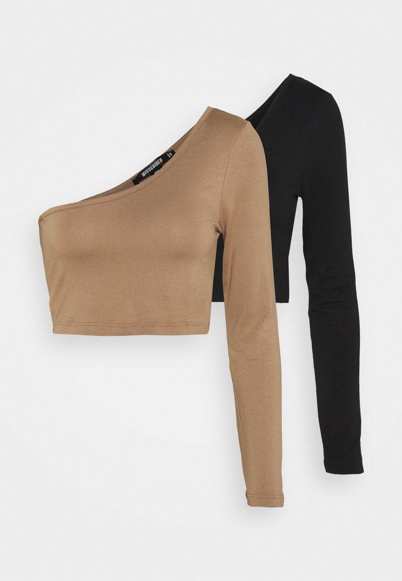 Missguided - ONE SHOULDER CROP 2 PACK - Long sleeved top - black/camel