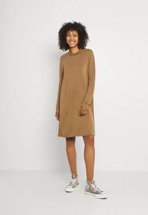 OBJANNIE HIGHNECK DRESS - Jersey dress - sepia