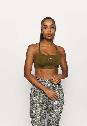 INDY BRA NON PAD - Light support sports bra - olive flak/white