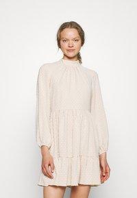 Closet - HIGH COLLAR MINI DRESS - Day dress - beige - 0