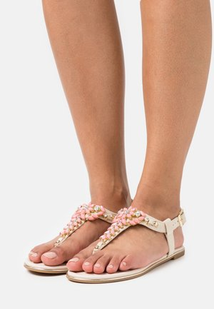 ROSALIE - T-bar sandals - beige/coral