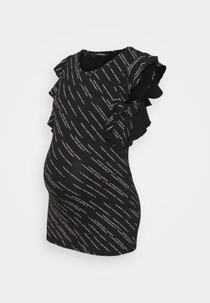 TEE RUFFLE TEXT - Print T-shirt - black