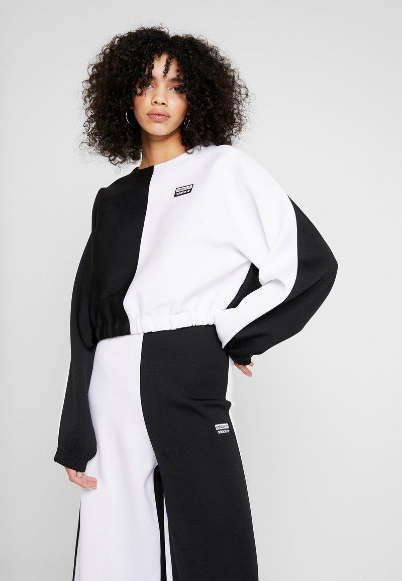 adidas Originals - R.Y.V. CREW LONG SLEEVE PULLOVER - Strikkegenser - black/white