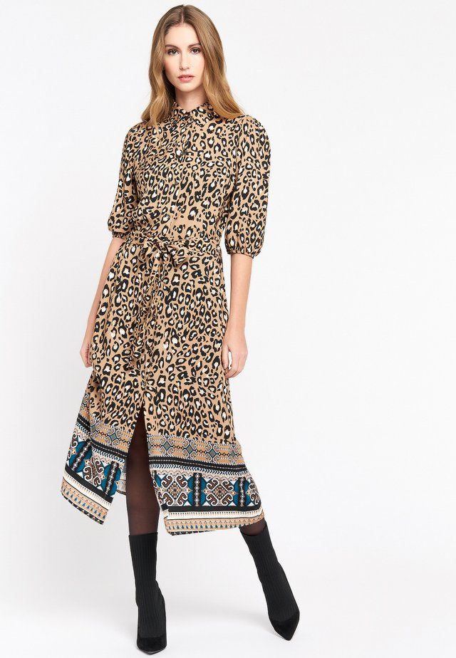 LEOPARD PRINT - Shirt dress - brown