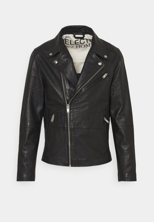 SLHICONIC BIKER  - Leather jacket - black