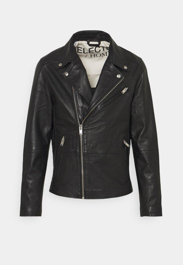 SLHICONIC BIKER  - Kožená bunda - black