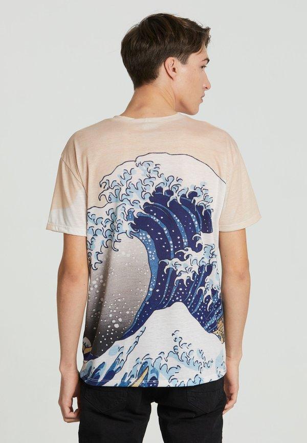 Mr. GUGU & Miss GO KANAGAWA WAVE - T-shirt z nadrukiem - beige/beżowy Odzież Męska KDEL