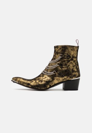 SYLVIAN 3 CHAIN SINGLE ZIP - Cowboy/biker ankle boot - black/gold