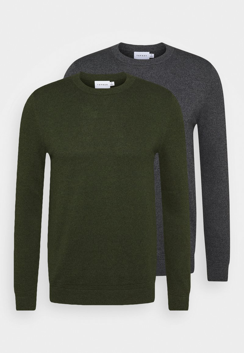 Topman - CREW 2 PACK - Trui - grey/green