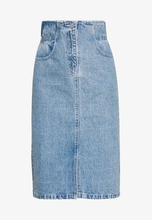 ELASTIC BAG WAIST MIDI SKIRT - Spódnica trapezowa - blue denim