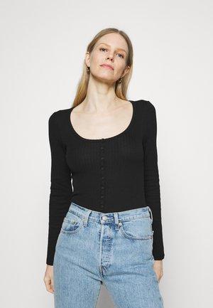 HENLEY BODYSUIT - Long sleeved top - true black