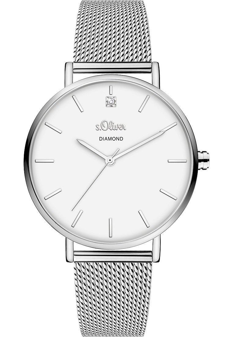 s.Oliver - S.OLIVER DAMEN-UHREN ANALOG QUARZ - Watch - silber