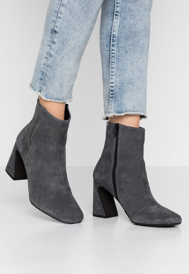 High heeled ankle boots - dark gray