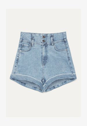 UND UMGESCHLAGENEM SAUM  - Denim shorts - blue denim