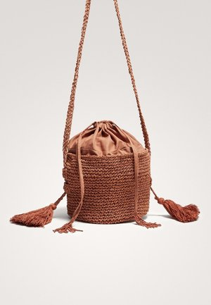 MIT POMPONS  - Borsa a tracolla - brown