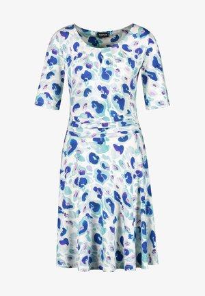 Jersey dress - blue curacao gemustert