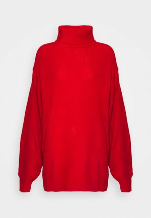 ROLL NECK CABLE SLEEVE JUMPER - Jumper - red