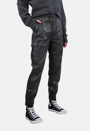 CARGO - Leather trousers - dark green
