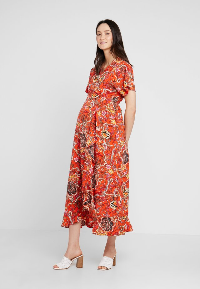 WRAP DRESS - Vestito lungo - red