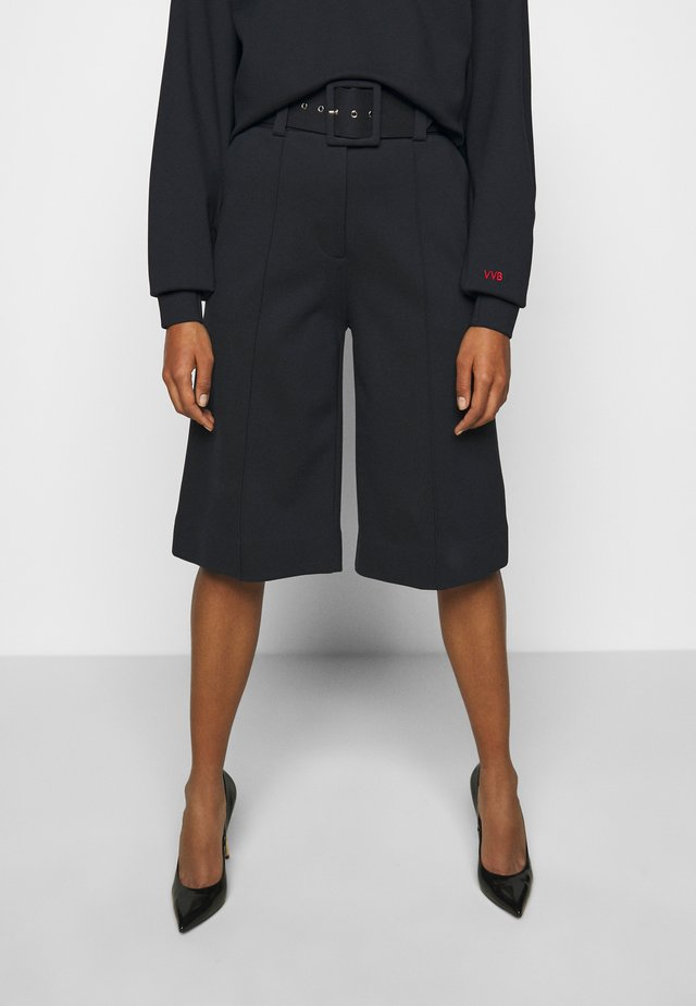 BELTED PONTI CULOTTES - Pantalon classique - dark navy
