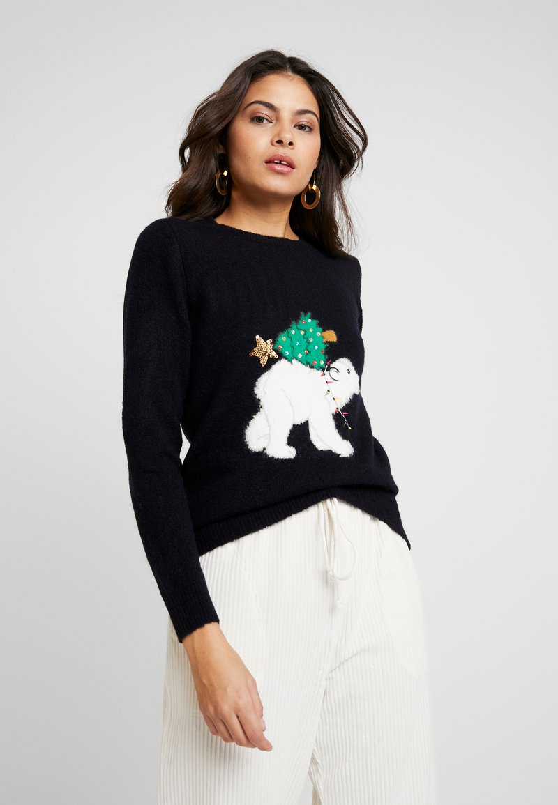 Dorothy Perkins - POLAR BEAR XMAS TREE - Jumper - navy
